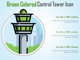 Green Colored Control Tower Icon