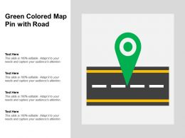 Green Colored Map Pin With Road