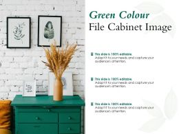 Green Colour File Cabinet Image