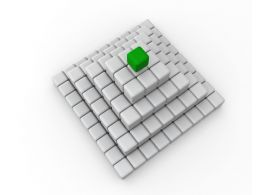 Green Cube On Top As Leader With White Cube Pyramid Stock Photo