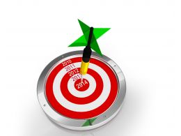 Green Dart Hitting On Year 2014 Stock Photo