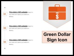 Green Dollar Sign Icon Presentation Examples