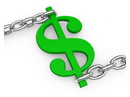 Green Dollar Symbol Fixed In Chain Stock Photo