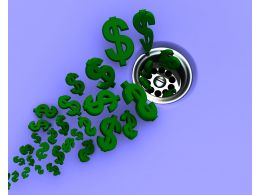 Green Dollar Symbols Going Down A Sink Drain Stock Photo