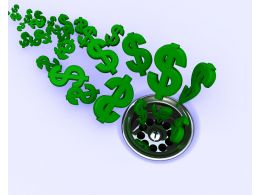 Green Dollar Symbols Going In Drain Shows Financial Crisis Stock Photo