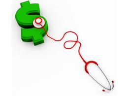 Green Dollar With Stethoscope With White Background Stock Photo