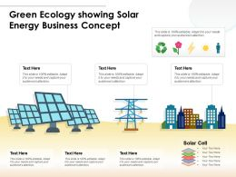 Green Ecology Showing Solar Energy Business Concept