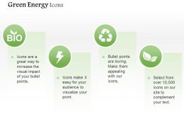 Green Energy Icons With Text Boxes Editable Icons