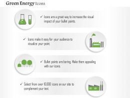 Green Energy Symbols Test Tube Factory And Machine Editable Icons