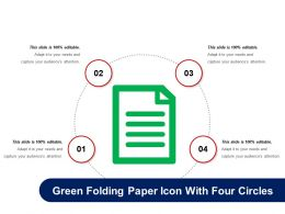 Green Folding Paper Icon With Four Circles
