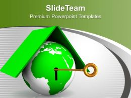 Green Globe With Key Locked Security PowerPoint Templates PPT Themes And Graphics 0213
