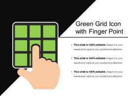 Green Grid Icon With Finger Point
