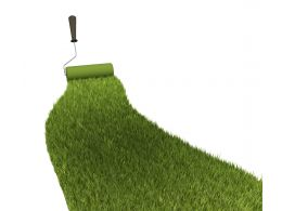 Green Ground Mat With Roller Stock Photo