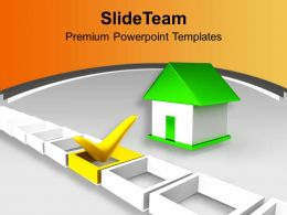 Green Home Besides Yellow Tick Mark Powerpoint Templates PPT Themes And Graphics 0213