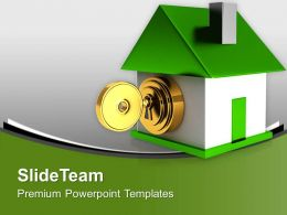 Green House With Security Key Safety PowerPoint Templates PPT Themes And Graphics 0213
