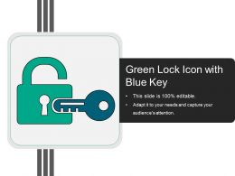 Green Lock Icon With Blue Key