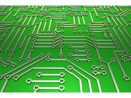 Green Metallic Circuit For Electronic Device Stock Photo