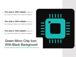 Green Micro Chip Icon With Black Background