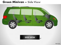 Green Minivan Side View Powerpoint Presentation Slides