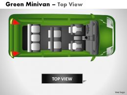 Green Minivan Top View Powerpoint Presentation Slides