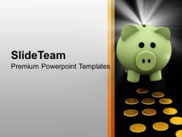 Green Piggy Bank With Coins Investment PowerPoint Templates PPT Themes And Graphics 0213