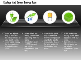 Green Plug With Home Battery And Green Globe For Ecology And Green Energy Editable Icons