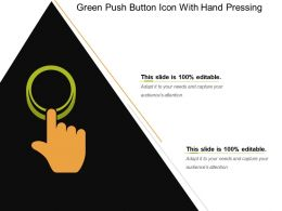 Green Push Button Icon With Hand Pressing