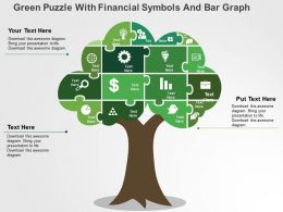 Green Puzzle With Financial Symbols And Bar Graph Flat Powerpoint Design