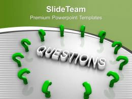 Green Question Marks Around Word Question PowerPoint Templates PPT Themes And Graphics 0313