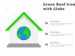 Green Roof Icon With Globe