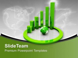 Green Spiral Bar Graph With Globe Powerpoint Templates Ppt Themes And Graphics 0313