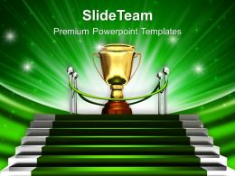 Green Stairway To Trophy Powerpoint Templates Ppt Backgrounds For Slides 0213