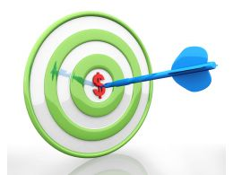 Green Target Dart With Bulls Eye And Dollar Stock Photo