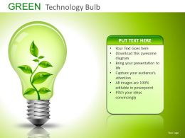 Green Technology Bulb Powerpoint Presentation Slides DB