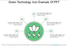 Green Technology Icon Example Of Ppt