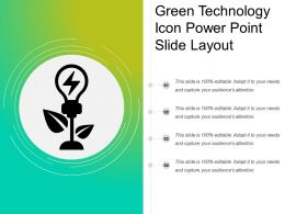 Green Technology Icon Power Point Slide Layout