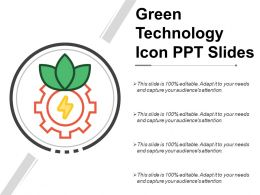 Green Technology Icon Ppt Slides