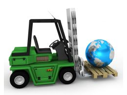 Green Transport Truck With Globe Stock Photo