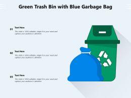Green Trash Bin With Blue Garbage Bag