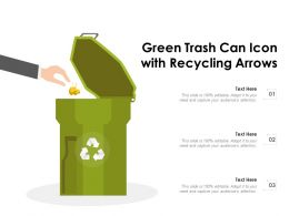 Green Trash Can Icon With Recycling Arrows