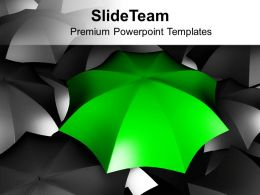 Green Umbrella Standing Out From Black Umbrellas Powerpoint Templates Ppt Themes And Graphics 0113