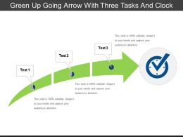 Green Up Going Arrow With Three Tasks And Clock