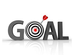 Grey Graphic Of Goal Dart With Arrow Stock Photo