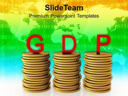 Gross Domestic Product On Dollar Coins Powerpoint Templates Ppt Themes And Graphics 0213