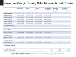 Gross Profit Margin Showing Sales Revenue And Cost Of Sales
