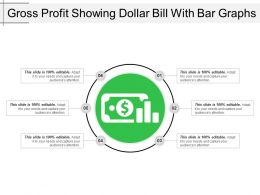 Gross Profit Showing Dollar Bill With Bar Graphs
