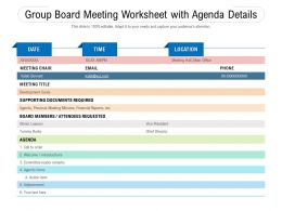 Group Board Meeting Worksheet With Agenda Details