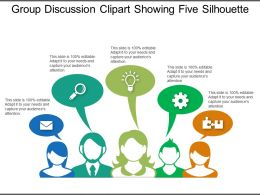 Group Discussion Clipart Showing Five Silhouette