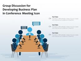 Group Discussion For Developing Business Plan In Conference Meeting Icon