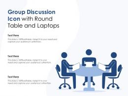 Group Discussion Icon With Round Table And Laptops